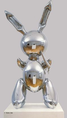 "Jeff Koons (b. American), ""Rabbit"", Stainless Steel, Size: 41 x 19 x 12 inches x x cm.) - © Jeff Koons Edition of 3 plus AP Jeff Koons Art, Oldenburg, Art Pop, Museum Of Contemporary Art, Contemporary Artists, Modern Sculpture, Sculpture Art, Rabbit Sculpture, Sculpture Garden"
