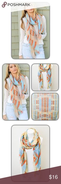 """🔥SIZZLE SALE🔥Liteweight Khaki Aztec Tribal Scatf Beautiful lightweight aztec tribal print scarf in khaki blue & orange. Unfinished/fringed hem for a relaxed look. Perfect all year 'round & adds a boho chic look when paired with solid tunic, tank or tee.  100% viscose 74"""" x 32"""" Accessories Scarves & Wraps"""