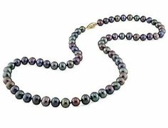 14k Yellow Gold Freshwater Black Pearl Necklace Amour. $53.00