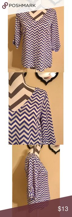 """🌷Everly Blue White Chevron Print Blouse Excellent pre-loved condition, like new!! Everly Women's Blue White Chevron Print Blouse W/ 3/4 Sleeves, Size S   Size: S, 24"""" long in front, 27"""" long in back, 18.5"""" across bust, 16"""" long sleeves   Measured laying down flat: 24"""" long in front, 27"""" long in back, 18.5"""" across bust, 16"""" long sleeves   Material: 100% polyester  Description: Light weight, Pullover, V-Neckline, Sheer, 3/4 sleeves w/ button roll up Nice for office or with cute capris. Ready…"""