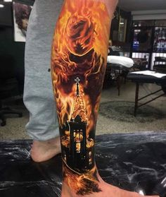 Blown away by the fire in this tattoo ! Church in flames . Lords of chaos inspired ? Artist: Ben Kaye