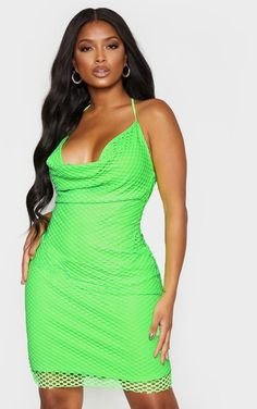 The Shape Neon Lime Fishnet Cowl Bodycon Dress. Head online and shop this season's range of curve at PrettyLittleThing. Express delivery available. Sexy Bikini, Bikini Girls, Bikini Tops, White Joggers, Lace Up Trainers, Your Girl, Fishnet, Different Styles, Sweetie Belle