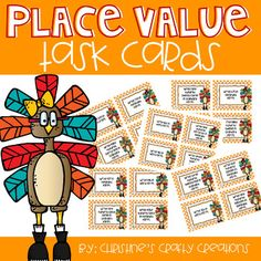 24 fall themed (3 Digit Place Value Task Cards) Great for math centers, whole group activities, small group instruction, or independent practice.Answer key and student recording sheet included.