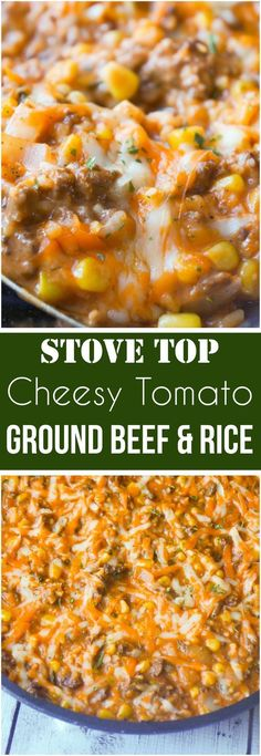 Easy dinner recipe with ground beef. This Cheesy Tomato Ground Beef and Rice is an easy stove top dinner recipe packed with flavour. This ground beef dish is made with cream of tomato soup, canned corn, instant rice and loaded with cheddar cheese. Ground Beef Rice, Ground Beef Dishes, Dinner With Ground Beef, Ground Beef And Rice Recipes For Dinner, Ground Beef Recipes Skillet, Recipies With Ground Beef, Casseroles With Ground Beef, Cooking With Ground Beef, Crockpot Recipe With Ground Beef