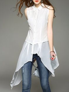 White Sleeveless Shirt Collar Tunic
