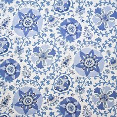Braemore Silsila Indian Sea is a Suzani inspired screen print on a rayon and linen blend in shades of blue and off-white. Suzani Fabric, Drapery Fabric, Blue Fabric, Fabric Decor, Fabric Design, Curtains, Pattern Design, Thing 1, Decorative Pillow Covers