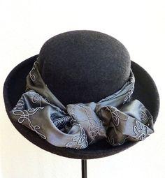 womens wool felt hat grey hat winter hats by IfTheHatFitsByJackie, $55.00
