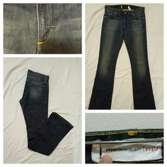 """Paper Denim & Cloth Bootcut Jeans SZ 26 Paper Denim&Cloth 2-MOD-07 designer jeans in the color fade. Size is 26 (2) - inseam measures 33"""". These hug your curves and are so comfortable! 97% Cotton, 3% Lycra Spandex. Ring x Ring Denim (Japan). Machine wash cold with like colors, tumble dry low. I've always hung these up to dry. Please see top left picture which shows a small repair to the denim. In my opinion, it isn't noticeable when you're wearing them, however the price has been discounted…"""