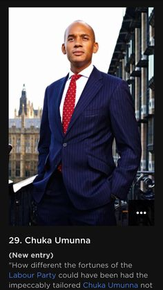 Alexandra wood creates suits for best dressed Chuka Umunna. GQs 29th best dressed male 2016