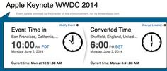 Still unsure what the WWDC 2014 keynote start time is in the UK and USA? Let us clarify.