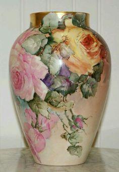 5 Porcelain Vase, Painted Porcelain, Fine Porcelain, Roses Vase, Painted Roses, Hand Painted, Vintage China, Antique China, Pots