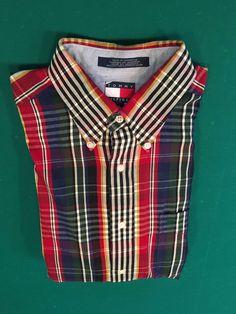 Vintage 1990s Men's TOMMY HILFIGER Multi-Colored Striped Buttoned Shirt Size L #TommyHilfiger #ButtonFront