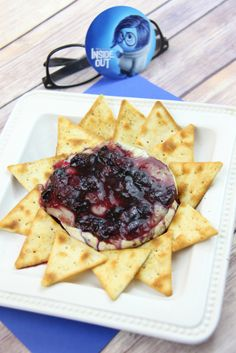 Baked Blueberry Brie - Inside Out Progressive Dinner - Inside Out Sad Recipe - www.madewithhappy.com - Blueberry compote sauce