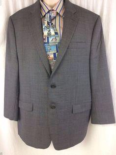 LAUREN Ralph Lauren Gray Sport Coat 46R Wool 2 Button Lined Classic Mens Blazer #LaurenRalphLauren #TwoButton