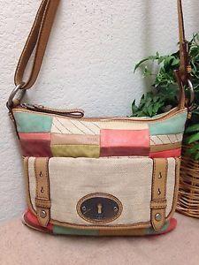 f13e6765ee79 Fossil Maddox Multicolor Patchwork Leather Canvas Crossbody Bag Shoulder  Handbag