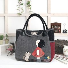 This is adorable! Japanese Patchwork, Japanese Bag, Patchwork Bags, Quilted Bag, Fabric Bags, Kids Bags, Cotton Bag, Cloth Bags, Handmade Bags