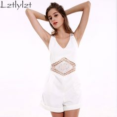 Summer Sexy Rompers Womens Clothes Hollow Out Spaghetti Strap Backless White Playsuit Women Beach Night Club Party Jumpsuit
