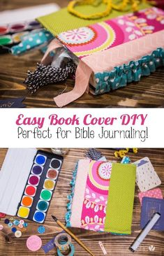 Easy Book Cover DIY - Perfect for Bible Journaling! | How Does She Diy And Crafts, Crafts For Kids, Paper Crafts, Fabric Crafts, Book Crafts, Fabric Art, Make A Book Cover, Bible Cases, Fabric Book Covers