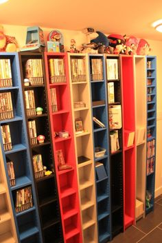 Colored shelves for each game system