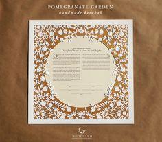 Pomegranate Garden papercut ketubah by WoodlandPapercuts on Etsy https://www.etsy.com/listing/169644714/pomegranate-garden-papercut-ketubah