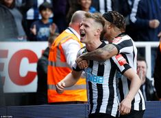The (left) is hugged by Newcastle defender DeAndre Yedlin after his goal in the victory over Arsenal St James' Park, 28 Years Old, Newcastle, Arsenal, Victorious, Football, Goals, Sports, Soccer
