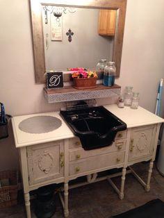 Shabby Salon Station DIY | Shampoo bowl mounted on a vintage shabby chic buffet. | Studio styling ...