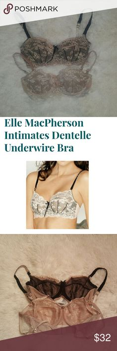 Set of 2 Elle Macpherson Intimates Lace Underwire Set of 2 Elle Macpherson Intimates Dentelle Lace Underwire Bras. So sexy delicate, and comfortable! Retail $65 each. Featured in Glamour, Lucky and Vogue Magazine, and featured on Oprah's Bra Revolution Show!  Description: Demi lace underwire bra. Seaming and rigid lace evokes vintage lingerie styling. Side boning to support the fuller bust. Ruffled satin adjustable straps. Center front long ribbon bow detail. Elle Macpherson  Intimates…