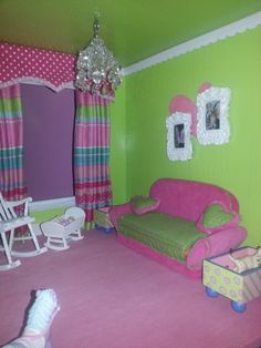 Custom Designed Barbie House!  Nursery/playroom features a custom window treatment, chandelier, sofa and a rocking chair. The walls and ceiling are spray painted and then the painted scalloped trim is glued around the room!