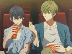 Watching a movie | Makoto and Haru