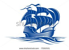 stock vector : Sail ship in ocean water for travel or another design, such a logo. Jpeg version also available