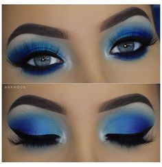 Eye Makeup Brushes, Eye Makeup Art, Eye Makeup Remover, Blue Eye Makeup, Smokey Eye Makeup, Eyeshadow Makeup, Blue Smokey Eye, Asian Makeup, Korean Makeup