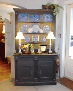 painted hutch with Blue Willow Distressed Hutch, Distressed Furniture, Painted Furniture, Kitchen Hutch, Kitchen Corner, Kitchen Storage, Kitchen Redo, Kitchen Remodel, Furniture Makeover