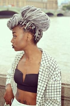 Different but I like it / braids / white / grey / african / box / grunge / style