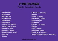 21 Day Fix EXTREME! Approved Purple Container Foods List! #21dayfixextreme