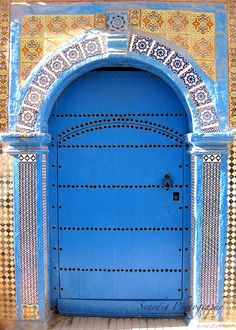 Morocco. Essaouira Photograph. Blue Door. Travel by seardig, $16.00