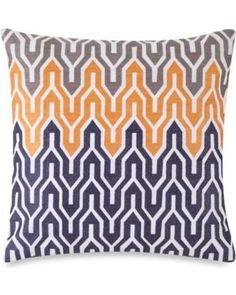Jill Rosenwald Plimpton Flame Allover Embroidered Square Throw Pillow - Throw Pillows