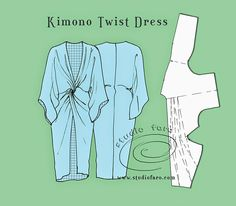 Pattern Puzzle - Kimono Twist Dress - well-suited More