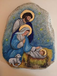 Christmas Art, Winter Christmas, Nativity Creche, Rock Crafts, Stone Art, Poinsettia, Stone Painting, Rock Art, Colored Pencils