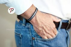 Men's Leather Bracelet Leather Bracelet for Men by PearlTwinkle