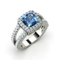 The Simone Ring- blue topaz and aquamarine white gold ring