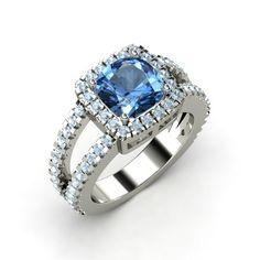 The Simone Ring- blue topaz and aquamarine white gold ring