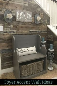 home accents rustic Foyer Accent Wall Ideas - LOVE t. home accents rustic Foyer Accent Wall Ideas – LOVE this pallet wood a Farmhouse Side Table, Rustic Farmhouse Decor, Rustic Decor, Modern Farmhouse, Farmhouse Ideas, Rustic Wood, Farmhouse Stairs, Rustic Entryway, Rustic Signs