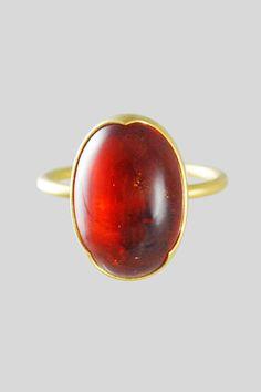 Gabriella Kiss 18k Spessartite Garnet Cabochon Ring