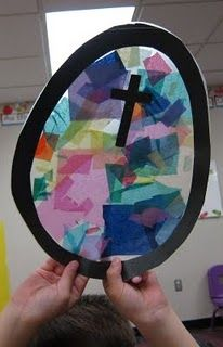 "Beautiful Easter craft for easter storytime. Use wax paper on top of contact paper, would be easier. Also add a loop of yarn at the top to make ""stained glass"" window hanging."