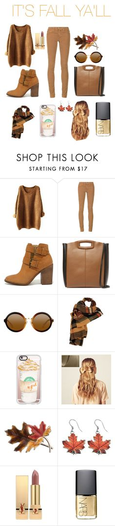 """""""Fall is in the air"""" by harleymiller ❤ liked on Polyvore featuring AG Adriano Goldschmied, Steve Madden, Maje, Wilsons Leather, Casetify, Hershesons, Anne Klein, Yves Saint Laurent and NARS Cosmetics"""