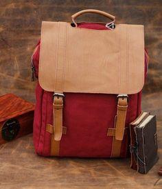 BACKPACK Superior Genuine Cow Leather CANVAS bag Briefcase / Messenger bag / Laptop bag / Men's leather Bag(M331) on Etsy, $39.99