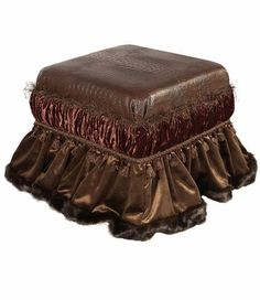 A croc patterned  faux leather covers the top of our Carson Luxury Foot Stool. It is finished off with both rust and bronze velvets and then edged in a brown faux mink - by Reilly-Chance Collection