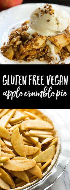 Gluten Free Vegan Apple Crumble Pie. Oil-free option!