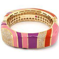 Lauren G Adams Colorful Enamel Stripes with Cubic Zirconia Bangle Bracelet$535More details