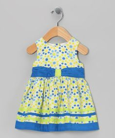 Take a look at this Blue & Yellow Circle Bow Dress - Infant, Toddler & Girls by Beebay on #zulily today!